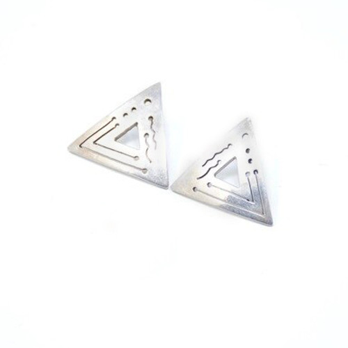 Vintage Sterling Silver Mexican Triangle Cut Out Earrings