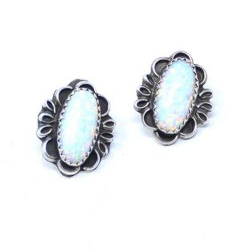 Vintage Sterling Silver Opal Teardrop Sawtooth Bezel Set Earrings