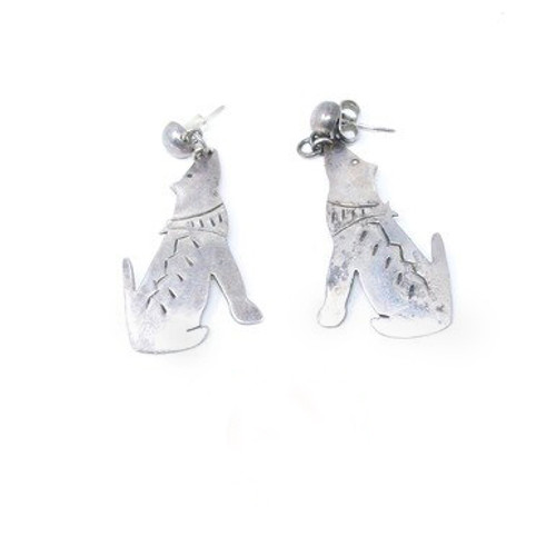 Vintage Sterling Silver Mexican Twin Wolves Post Setting Earrings