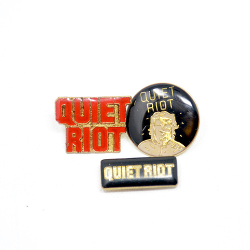 """Quiet Riot Red & Gold logo, """"Mental Health"""" Silhouette and small black enamel logo pins."""