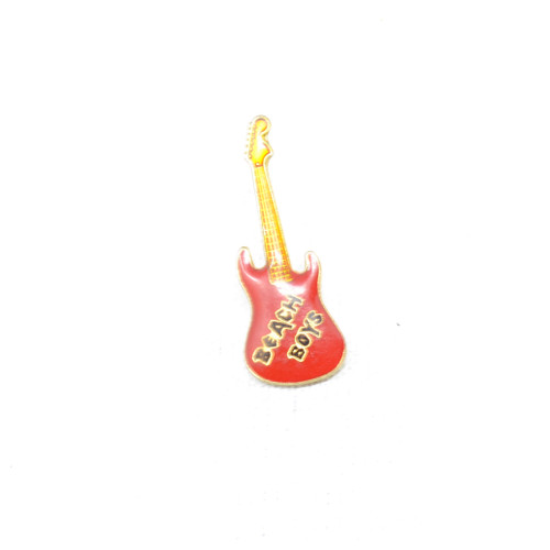 Beach Boys S-Type Guitar Pin. Black on Gold setting with Gold outlined logo.