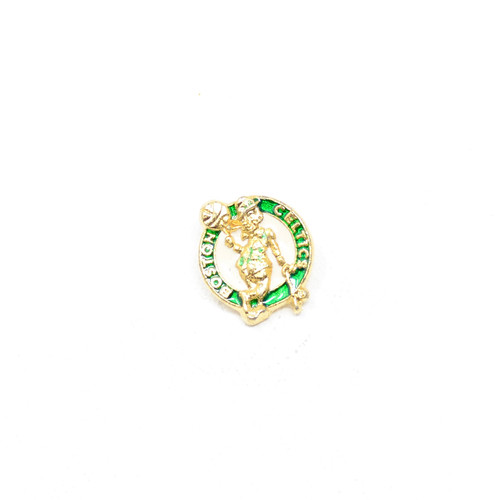 Boston Celtics Pin featuring Lucky the Leprechaun. Gold pop-out and green accents. Classic.