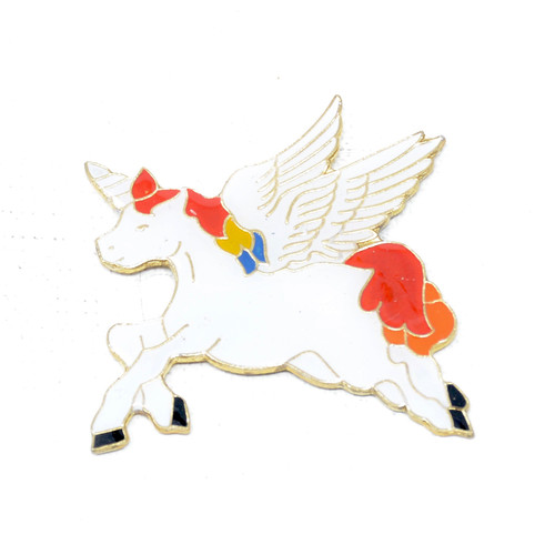 Flying White Unicorn Pin