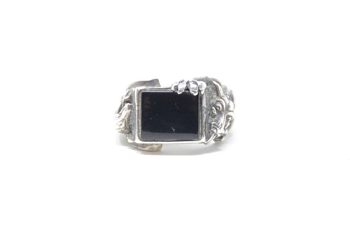 Lost Wax Cast Onyx Dragon Sterling Ring Size 8
