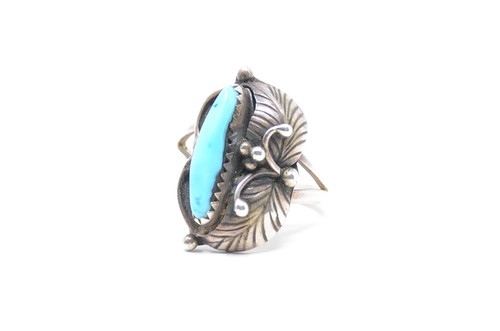 Navajo Turquoise Sawtooth Bezel Set Sterling Silver Ring Size 8 1/4