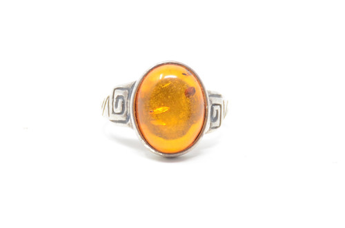 Spiral Amber Cast Setting Sterling Silver Ring Size 8