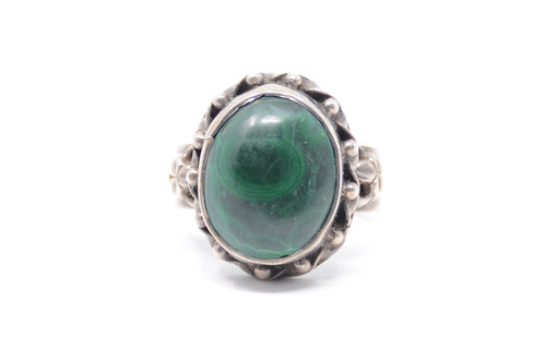 Rope Twist Malachite Bezel Set Sterling Silver Ring Size 8