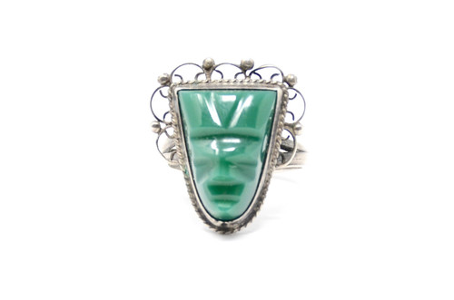 Carved Face Jade Bezel Set Sterling Silver Ring Size 8