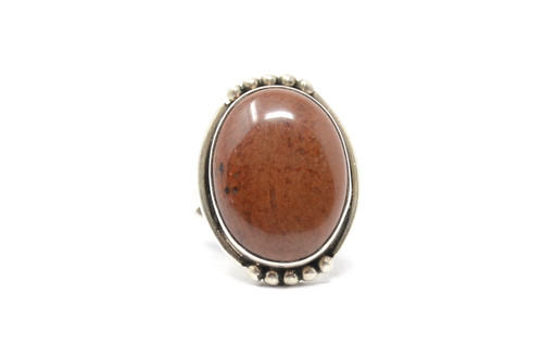 Petrified Wood Silver Ball Set Sterling Ring Size 8 1/4