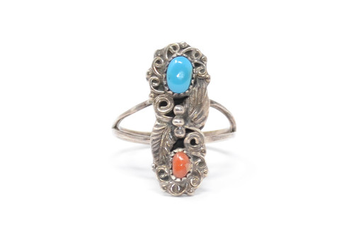 Floral Navajo Coral & Turquoise Sawtooth Bezel Set Sterling Ring Size 8
