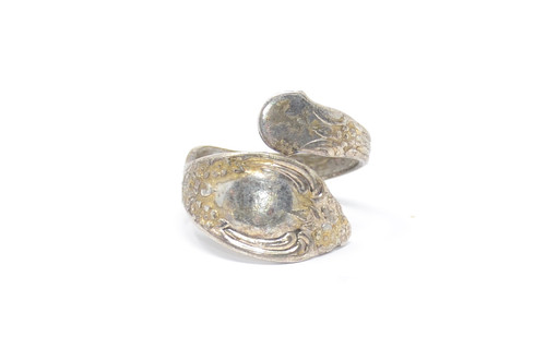 WMA Rodgers Aged Silver Spoon Wrap Sterling Ring Size 8