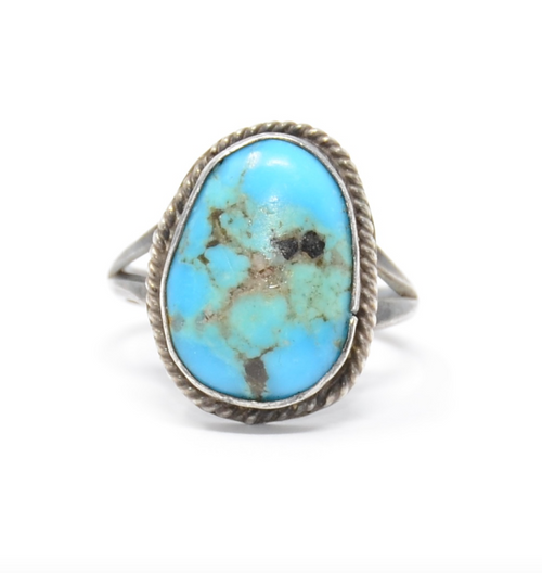 Navajo Sea Foam Turquoise Matrix Sterling Silver Ring Size 8 1/4