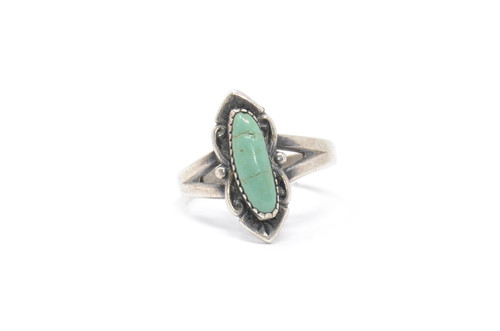 Southwestern Green Turquoise Bell Trading Post Sterling Silver Ring Size 8 1/2