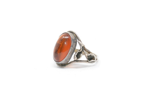 Floral Danish Style Amber Sterling Silver Ring Size 8