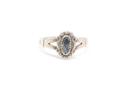 Southwestern Style Hematite Artist Signature Sterling Ring Size 8.5