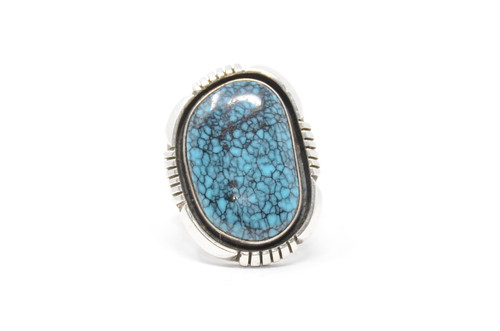 Hopi Style Spiderweb Turquoise Large Cabochon Sterling Ring Size 8 1/4