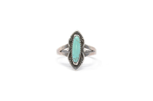 Oval Turquoise Bell Trading Post Sterling Silver Ring Size 8