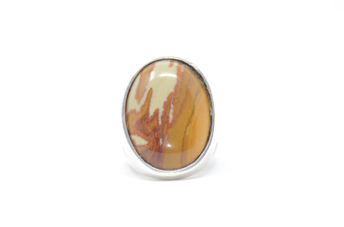 Modernist Set Oval Jasper Picture Sterling Silver Statement Ring Size 9