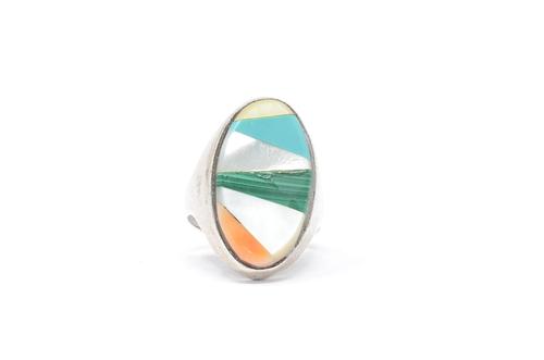 Zuni Geometric Inlay Multi Stone Pattern Sterling Silver Ring Size 9