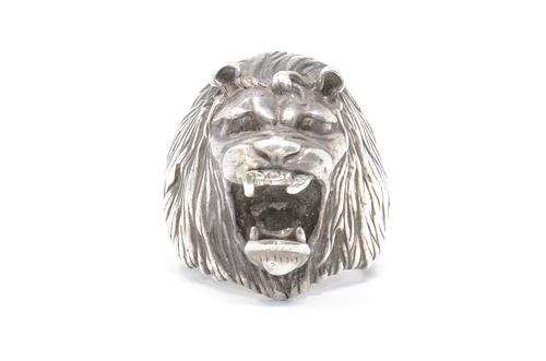 Mexico Roaring Lion 925 Cast Statement Sterling Silver Ring Size 9