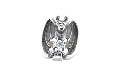 Skull & Bat Gargoyle G&S Sterling Silver Ring Size 11
