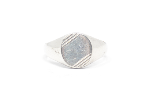 Corner Cut Signet Sterling Ring Size 12
