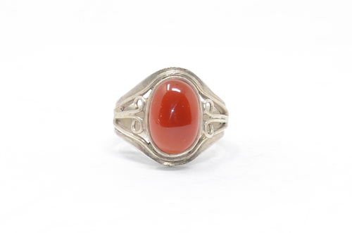 Oval Carnelian Swirl Setting Sterling Ring Size 10