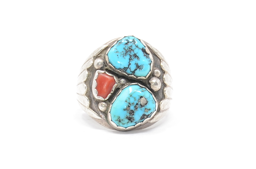 Sterling Navajo Yazzie Ring with Turquoise and Coral 10 1/2