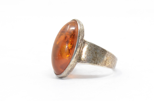 Oval Amber Tapered Band Sterling Ring Size 10