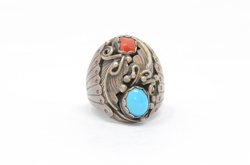 Navajo Turquoise and Coral Sterling Ring Size 11 1/4