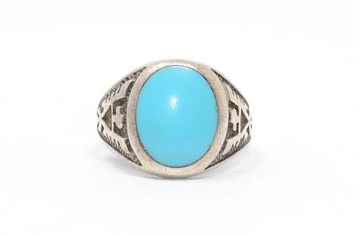 Sterling Thunderbird Imitation Turquoise Ring