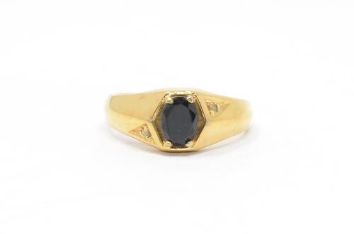 Gold Plated Obsidian & Marcasite Setting Sterling Ring Size 12 3/4