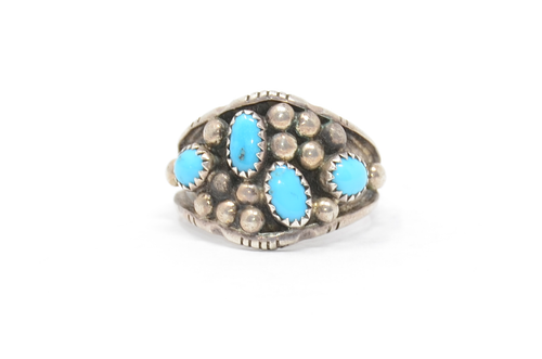 Sterling Sawtooth Bezel Set Navajo Turquoise Cluster Ring