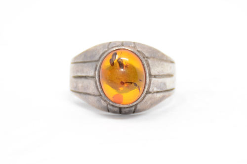 Sterling 925 Amber Ring Size 11 3/4