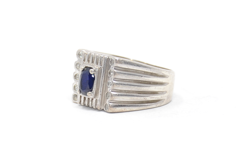 Sterling Sapphire Ring with Marcasite Details