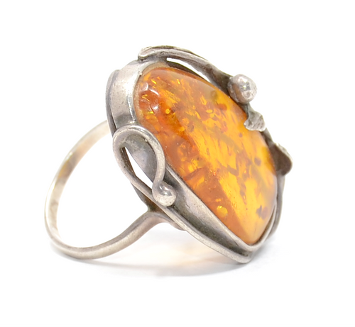 Sterling Feathered Amber Statement Ring Size 10 1/2