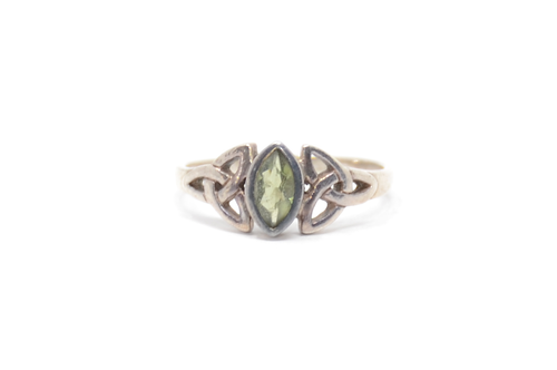 Sterling Celtic Marquis Peridot Design Peridot Ring