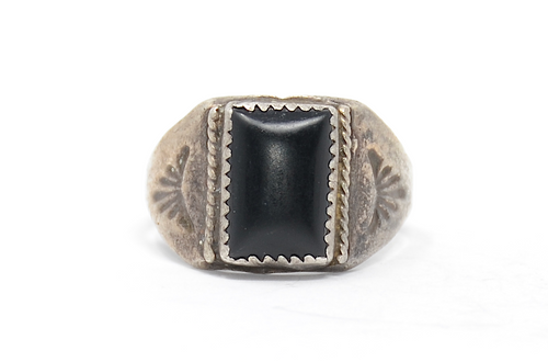 Sterling 1950's Rectangle Cut Navajo Onyx Ring Size 11 1/2