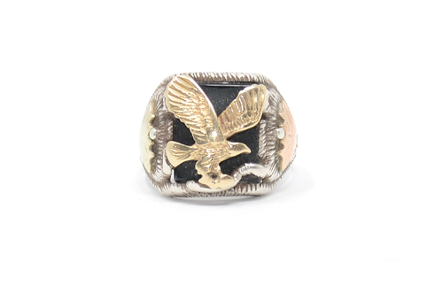 Sterling and 10k 12k gold Eagle Ring