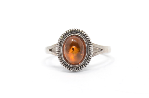 Sterling Amber Ring Spiral Rope Setting
