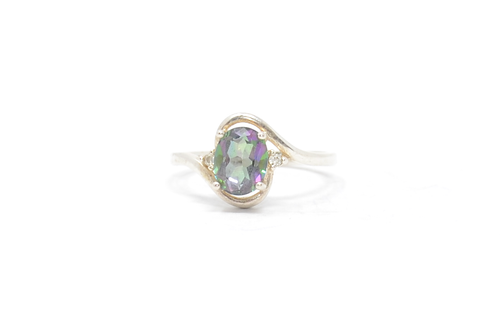 Sterling Mystic Topaz & Zirconia Ring