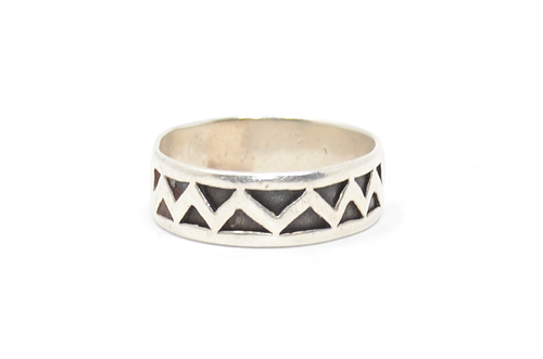 Sterling Triangle Zig Zag Band Ring