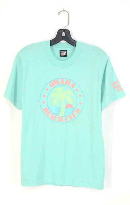 1980's Omaha Beach Club T Mint Green 50/50 Screen Stars USA Made