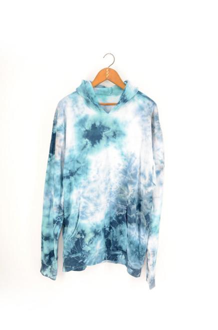 Super soft & cozy blue marble tie dye comfort color hooded sweatshirt