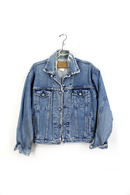 Distressed and Faded Light Wash Gap Denim Jacket. Made in USA.