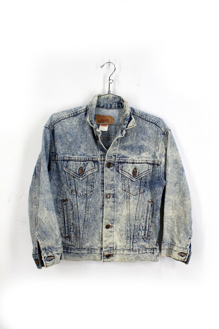 Acid Wash 1980s Denim Jacket. Ladies Extra Small. Mens XX-Small.