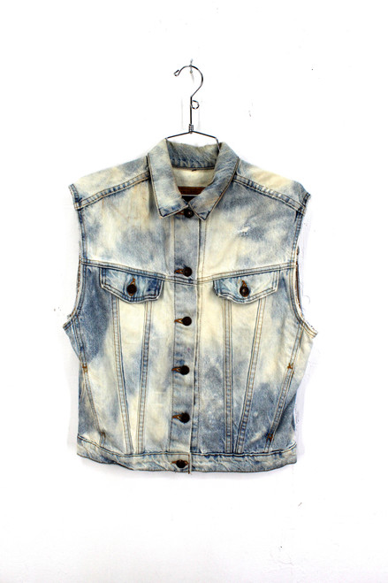 Bleached out Levi's Cut Off Denim Vest. Made in USA.  fits like a Small. Size 36.