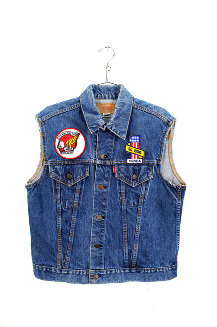 1960s Levis Big E cut off denim vest with era Honda Patches. Well worn. Nice fades.  Mens Medium. Size 38.