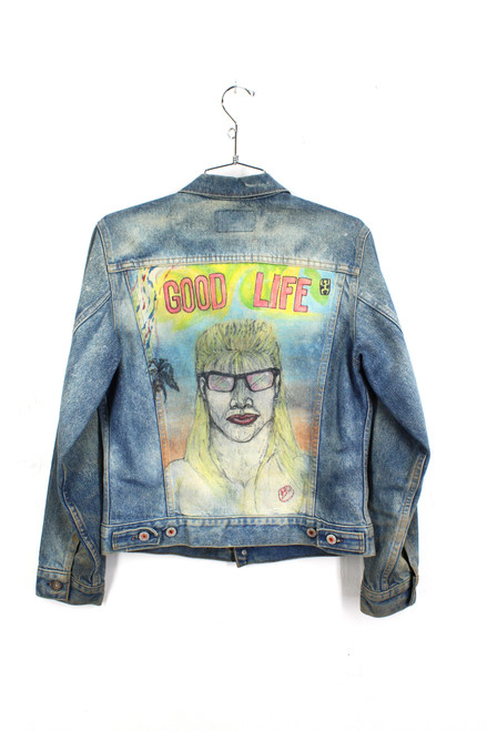 Levis Hand Painted Denim Jacket. Made in USA. Mens Extra Small. Size 34.
