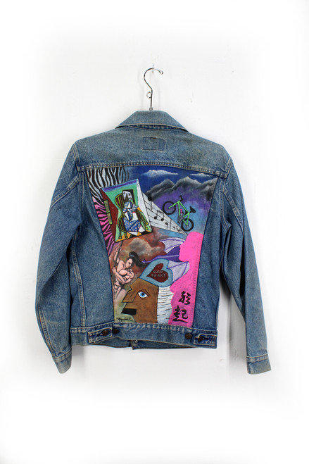 Hand Painted Levis Denim Jacket. Extra Small. Size 34.